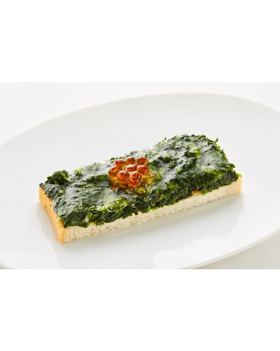 Diplomatensandwich Blattspinat mit Saiblingskaviar